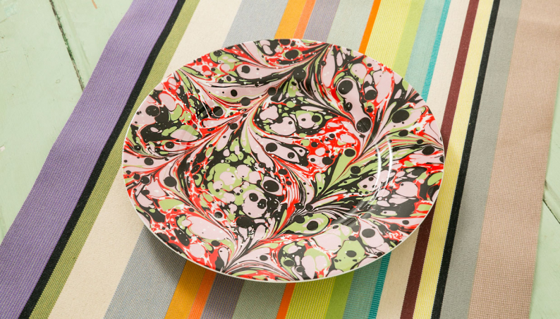 Pink Marbled Dinner Plate