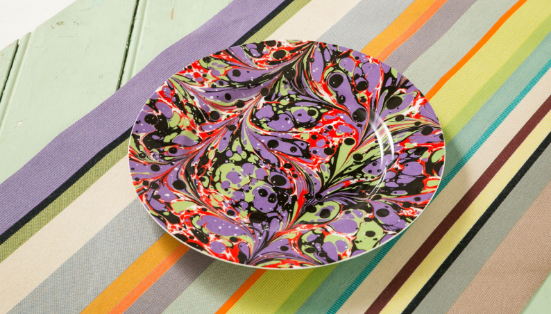 Purple Marbled Dinner Plate
