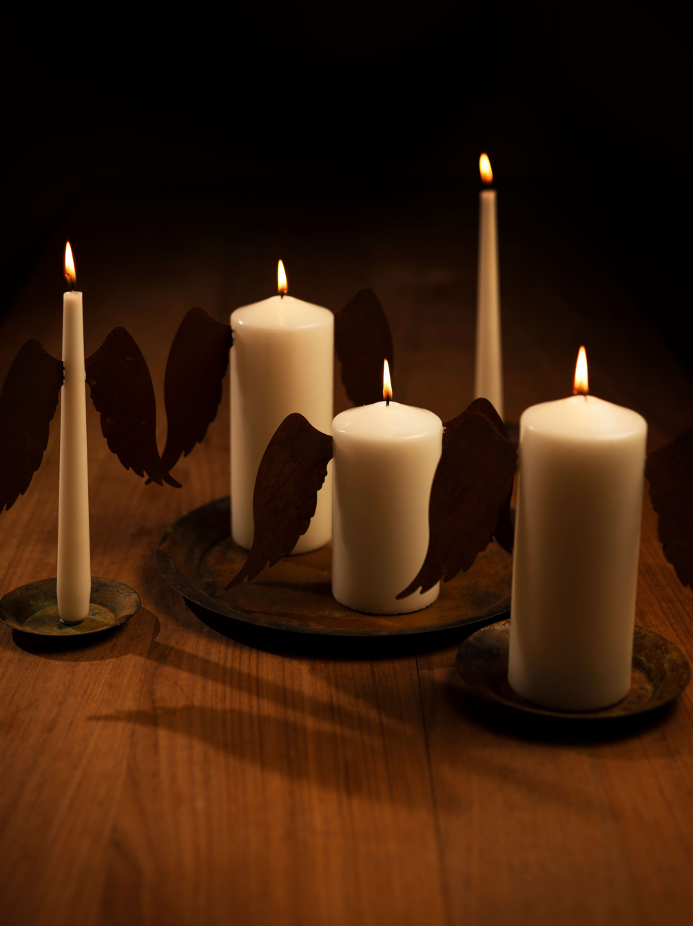 Rusty Metal Wings, Church Candles