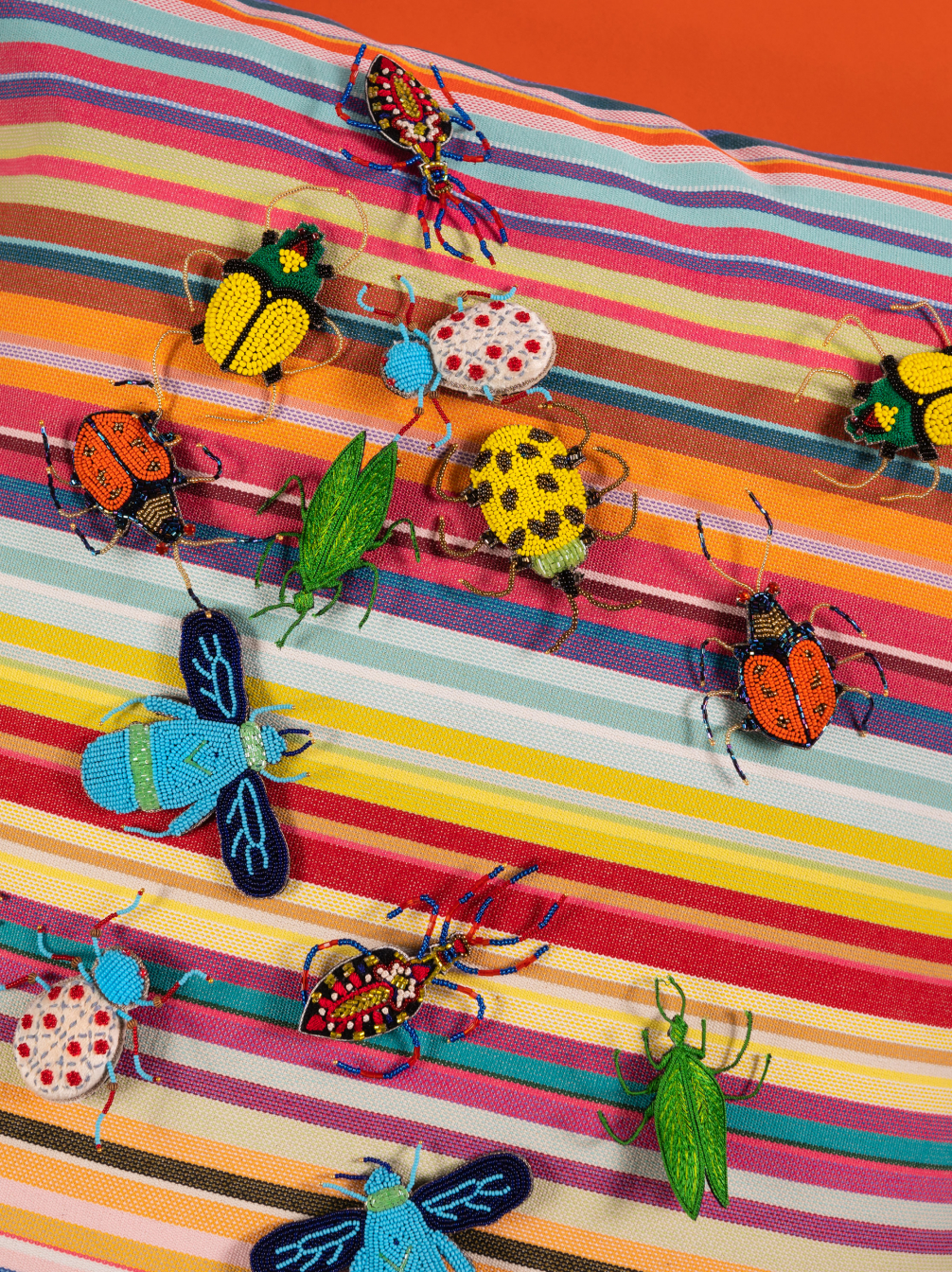 Beaded Beetle Brooches