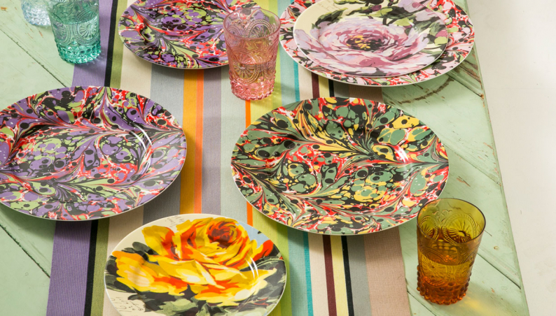 Marbled & Floral Plates