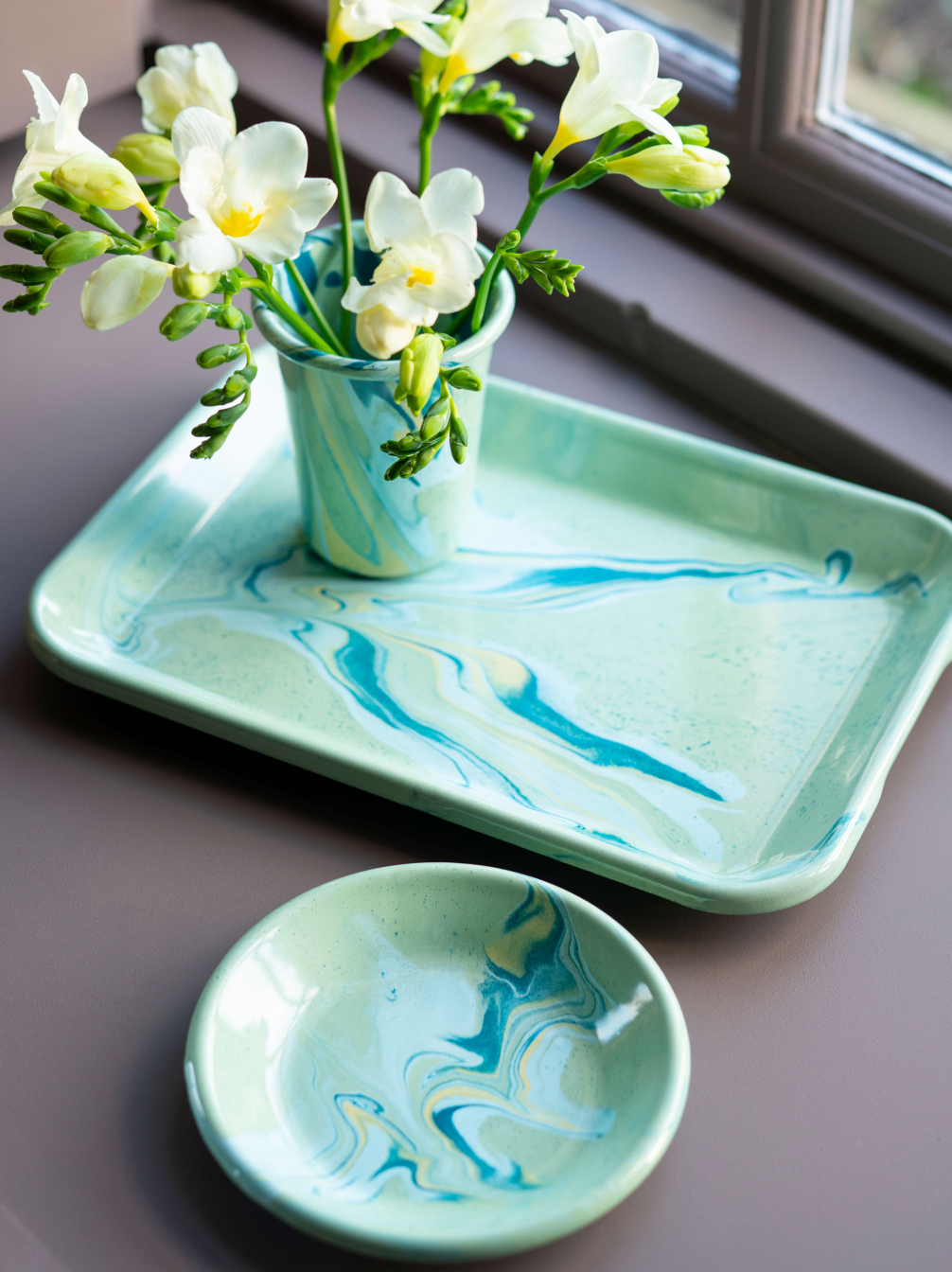 Marbled Enamelware Mint Green
