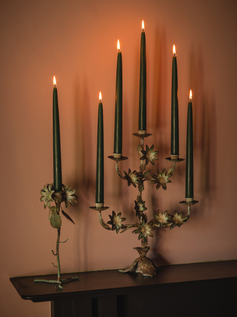 Cream Floral Candlesticks