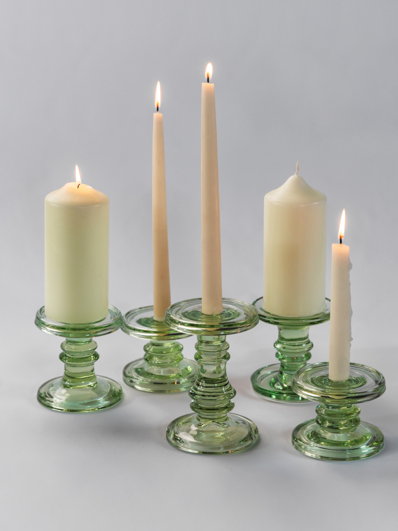 Chunky Glass Candlesticks