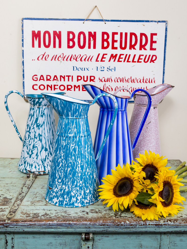 Old French Enamel Jugs