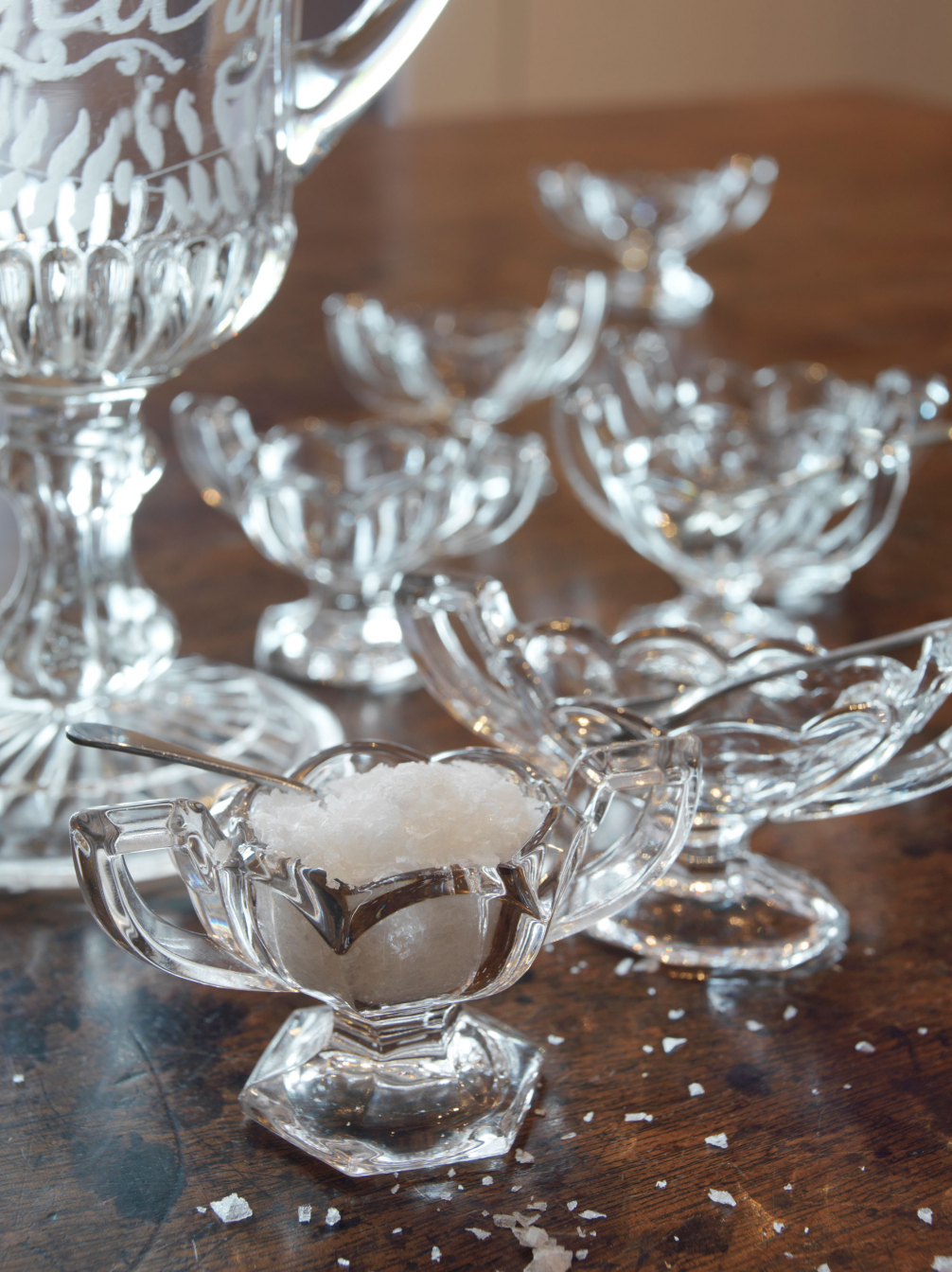 Old Chippendale Glass Salts