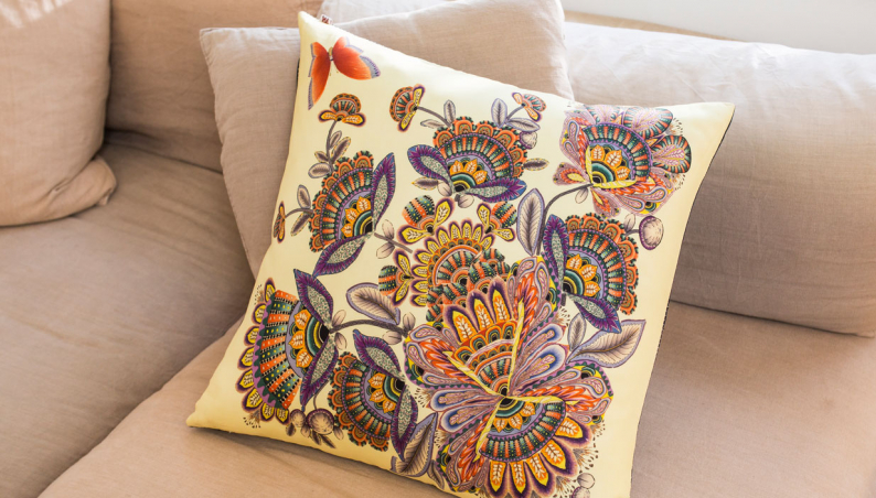 Silk Folkart Cushion