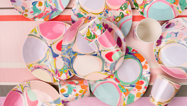 Marbled Bamboo Plates & Cups