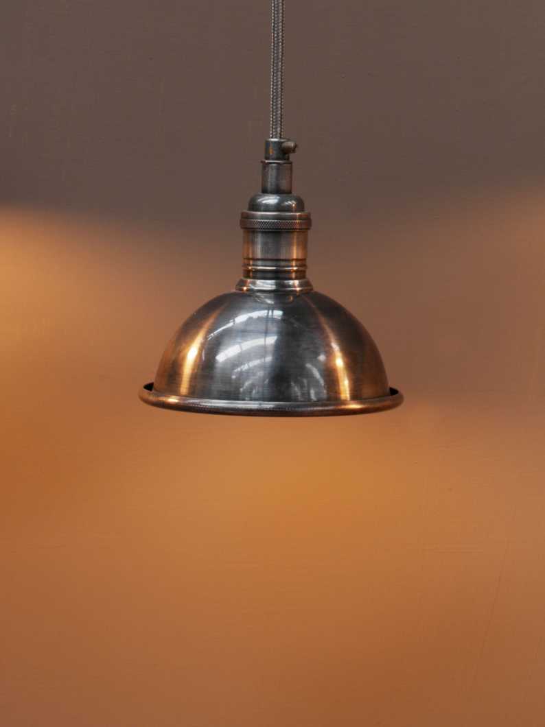 Small Antiqued Metal Pendant Light