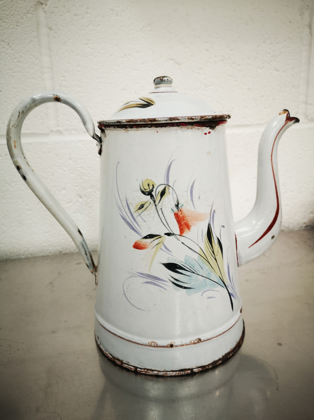 Old French Enamel Coffee Pot