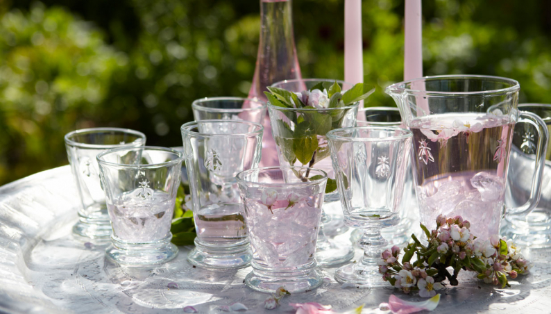 French Bee Embossed Glasses and Jug