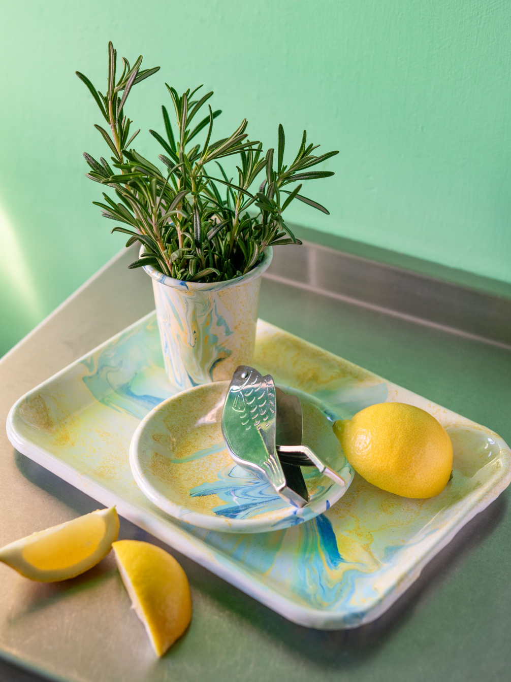 Marbled Enamelware Cream