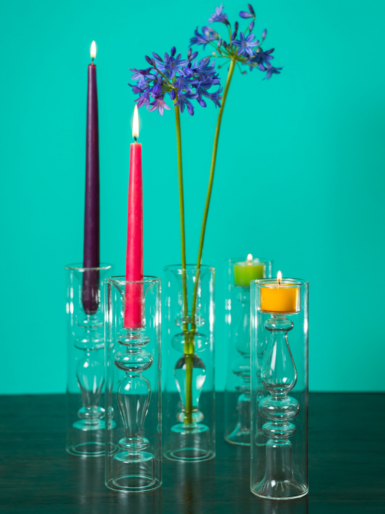 Glass Candlestick Vase