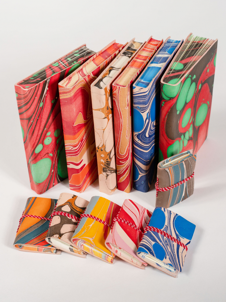 Marbled Leather Covered Sketchbooks