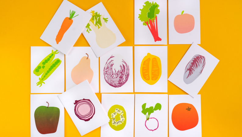 hello Letterpress Fruit & Veg Cards